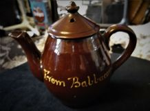VINTAGE DEVON WARE CHOCOLATE BROWN GLAZED COFFEE / TEA POT FROM BABBACOMBE